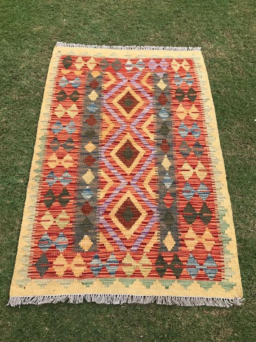 Hand Made Wool Kilim Rug 4x2.7