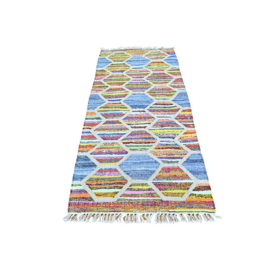 Hand Woven Kilim Runner Cotton & Sari Silk Rug 2.7x6