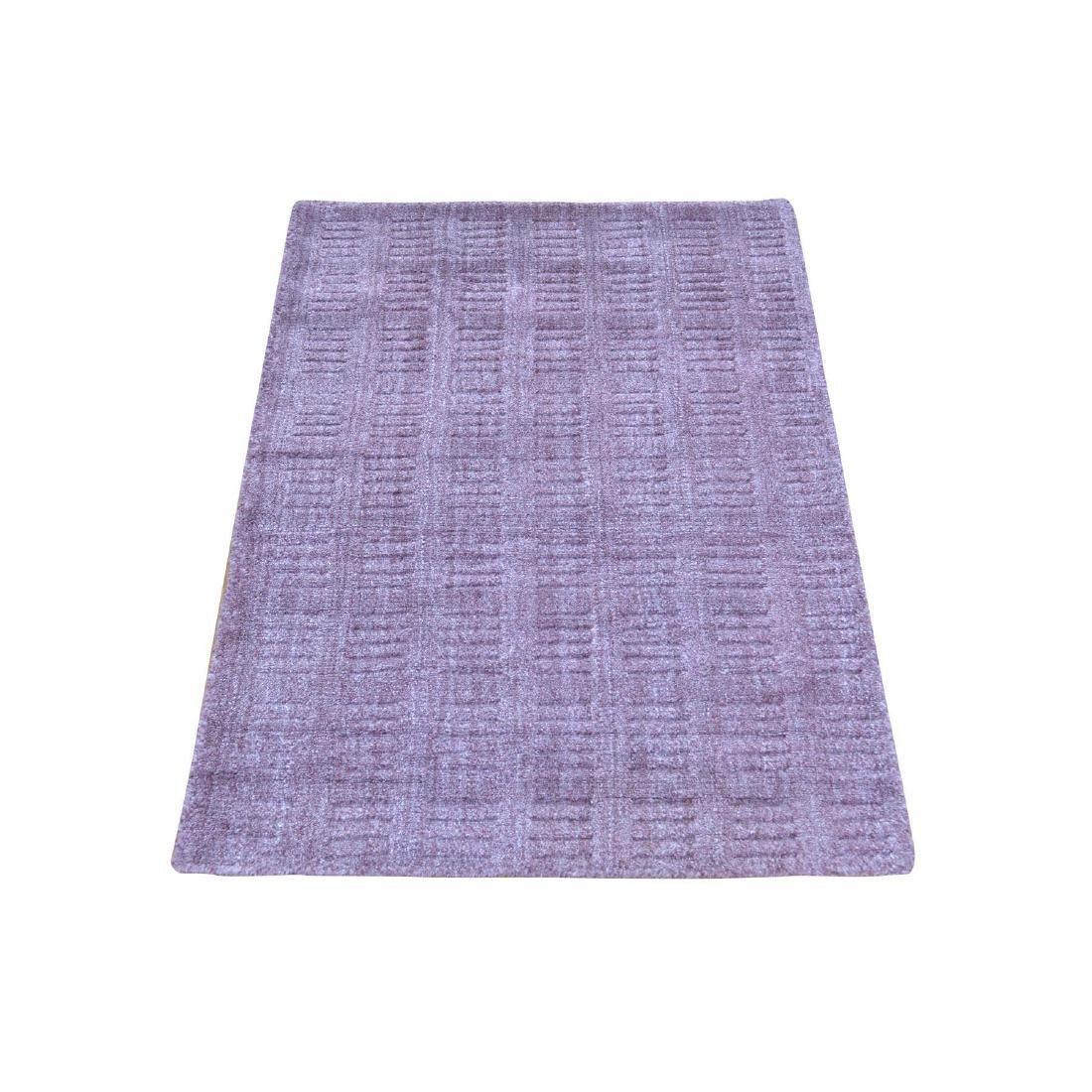 Tone on Tone Purple Hand Loomed Wool and Silk Rug 2x3