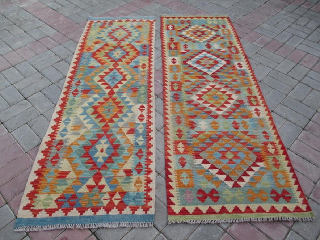 2 Hand Woven Chobi Kilim Rugs 6.3x2 - 6.4x2.2