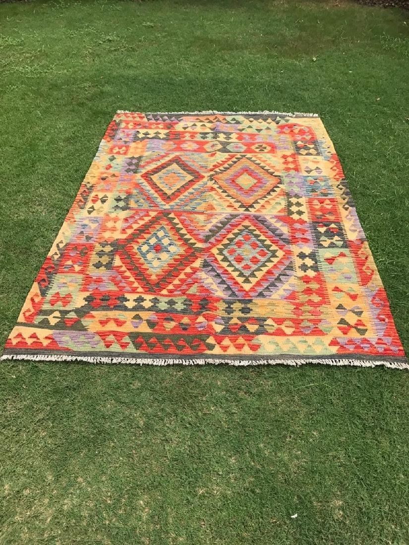 Hand Made Wool Kilim Rug 6.5x4.9
