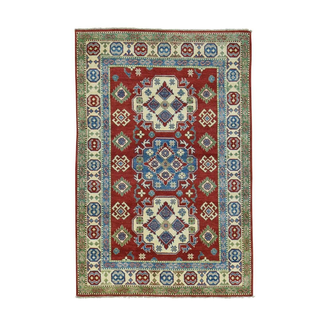 Hand-Knotted Kazak Tribal and Geometric Design Rug 4x6