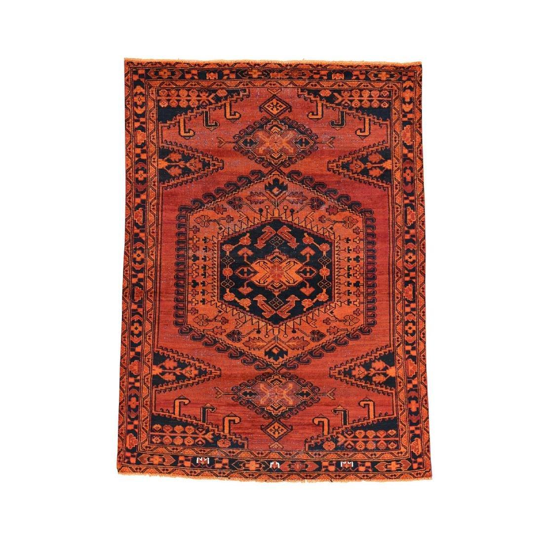 Handmade Overdyed Persian Viss Vintage Rug 4.10x6.8