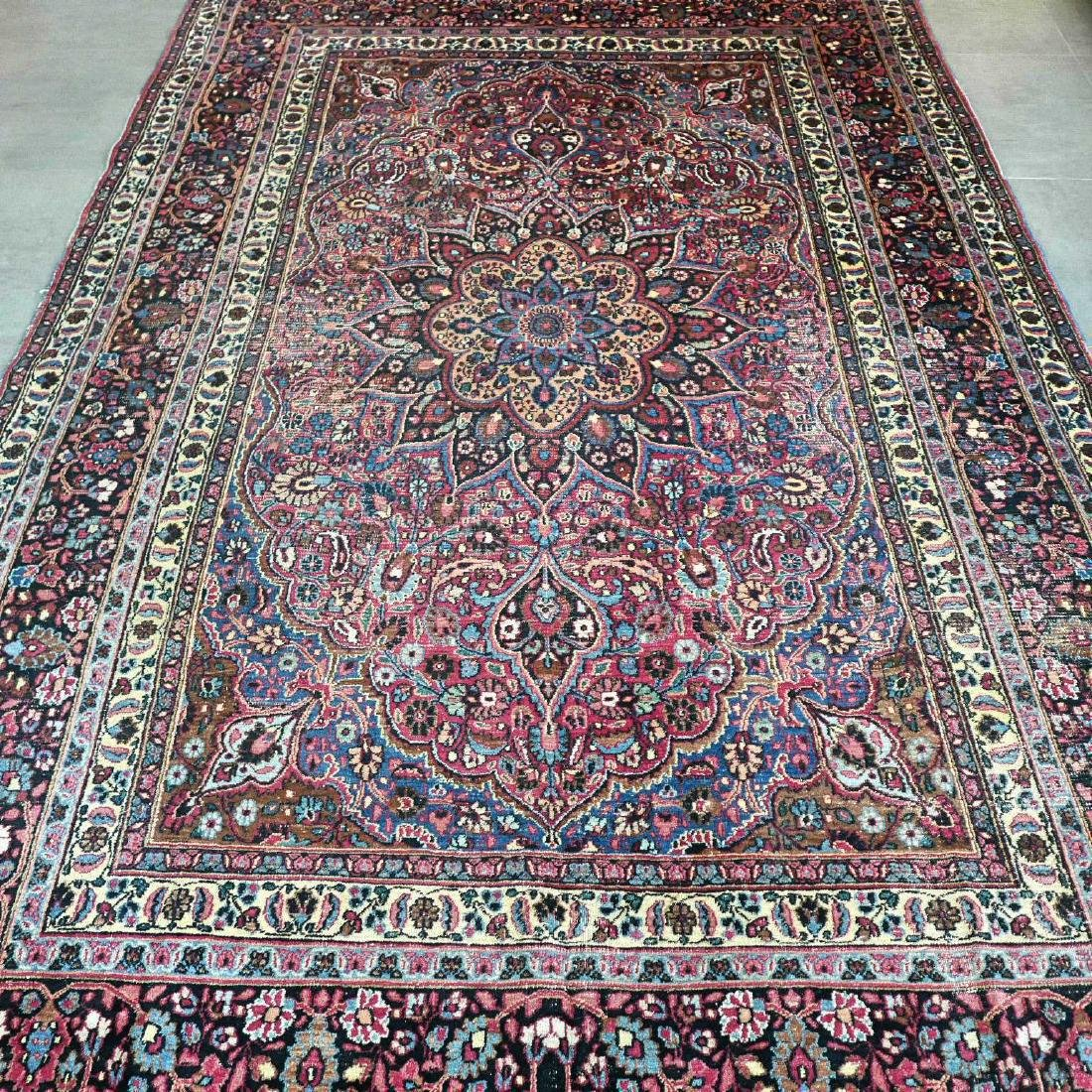 Antique Vintage Mashad Hand Knotted Rug 10.8x7