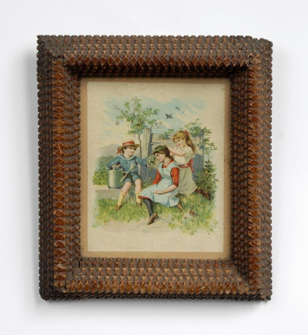 Tramp Art Frame with Illustration 19th century