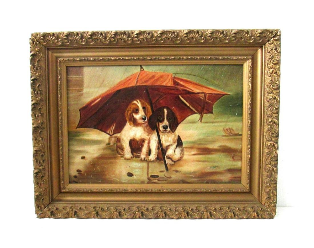 19th Century Puppies Painting