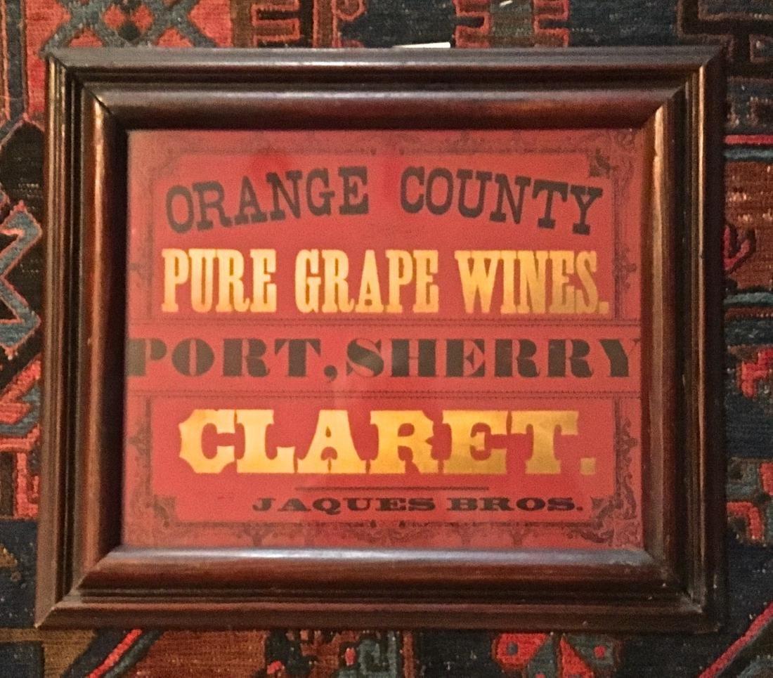 19th Century New York State Wine Sign