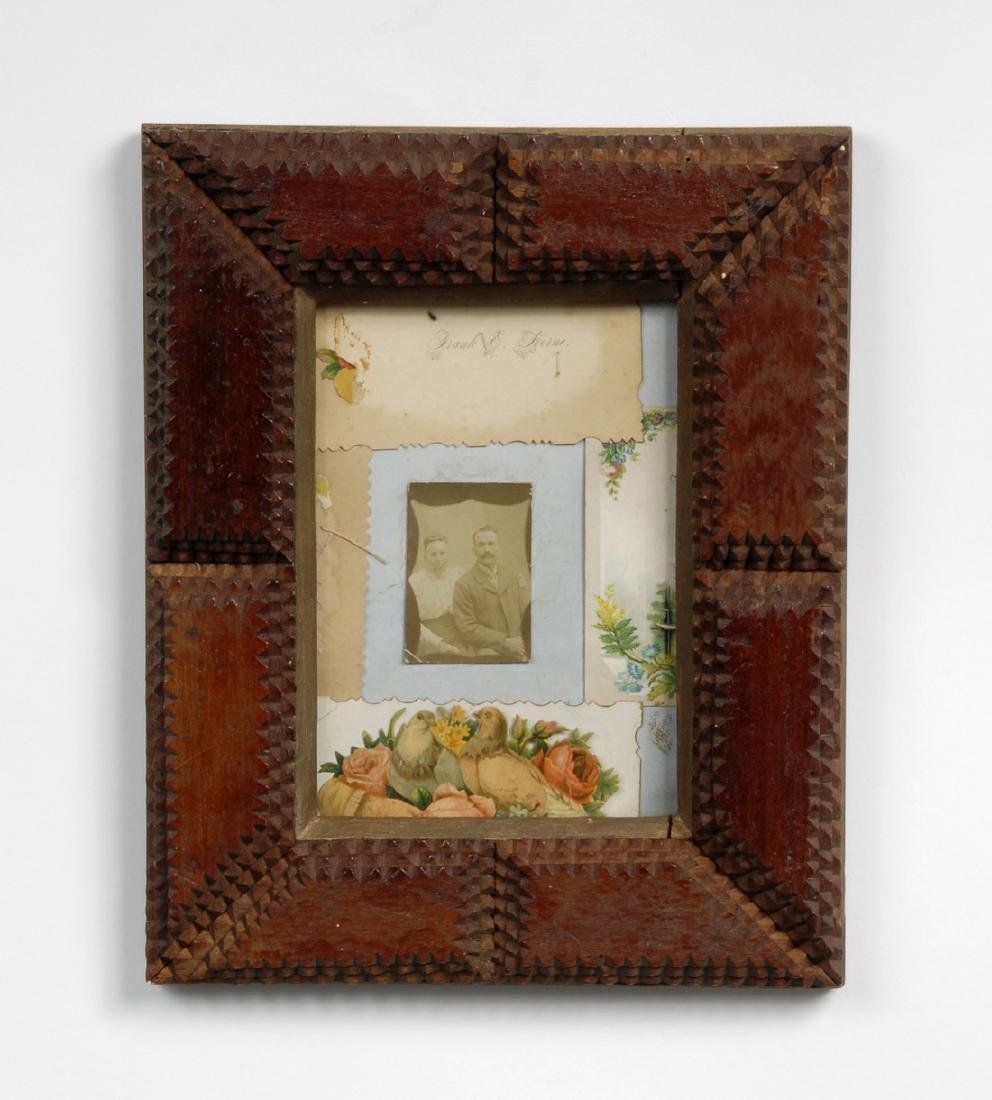 Tramp Art Frame with Photograph Circa 1900