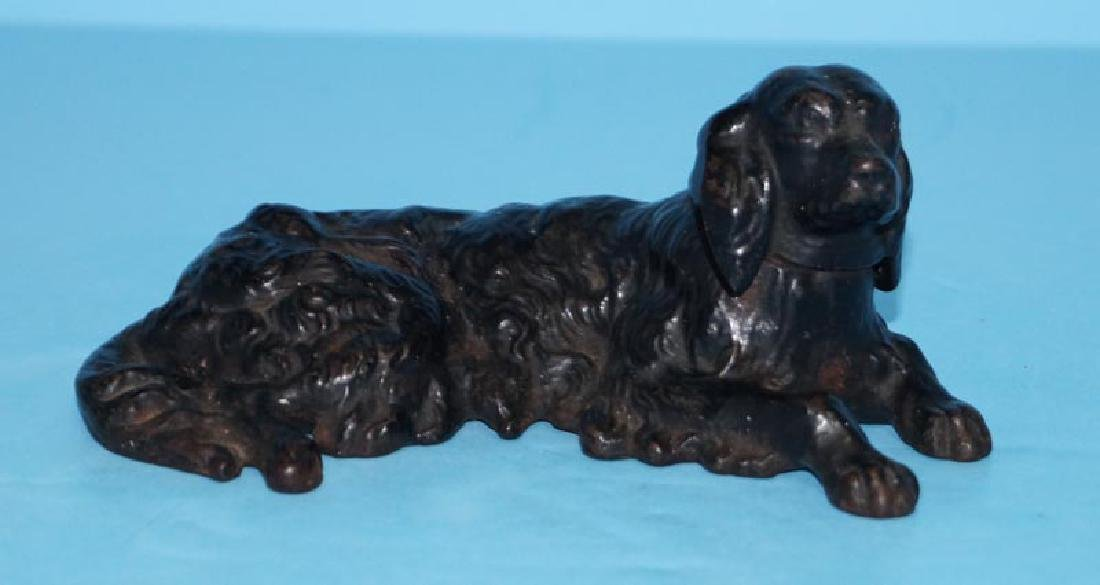 Antique Lying Down Retriever Cast Iron Paperweight
