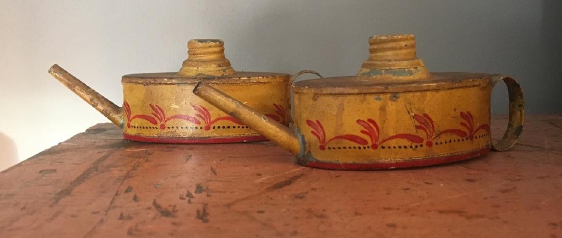 Pair of 19th Century Toleware Lamp Oil Filling Cans