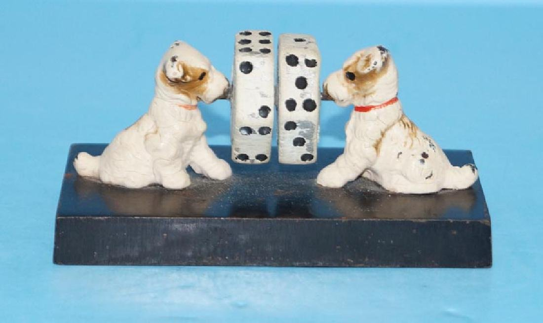 Antique Fox Terrier Dice Game Cast Iron Paperweight