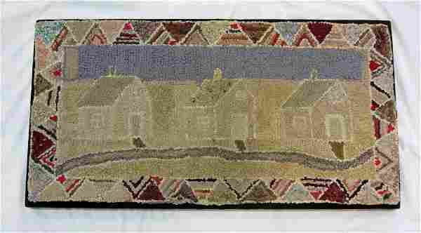 """""""Cottages Along The Beach"""" Hooked Rug"""