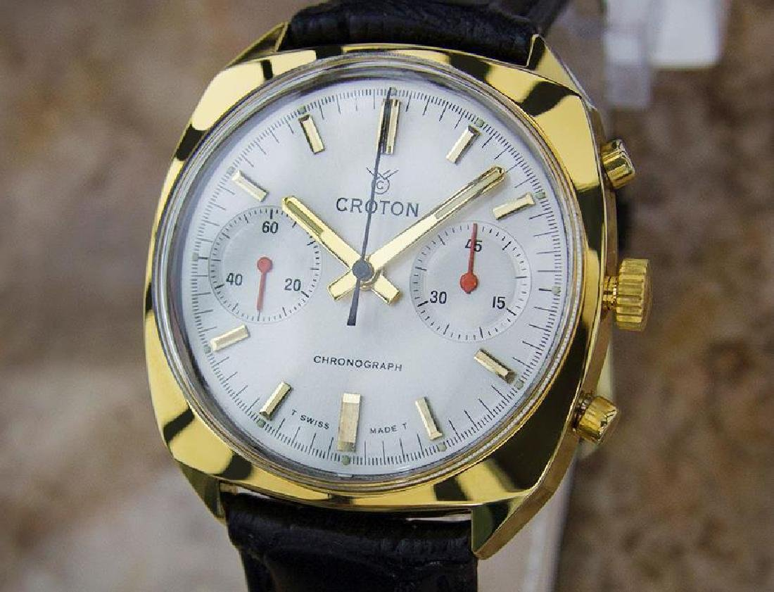 Croton Swiss Made Men's Chronograph Gold Plated Vintage