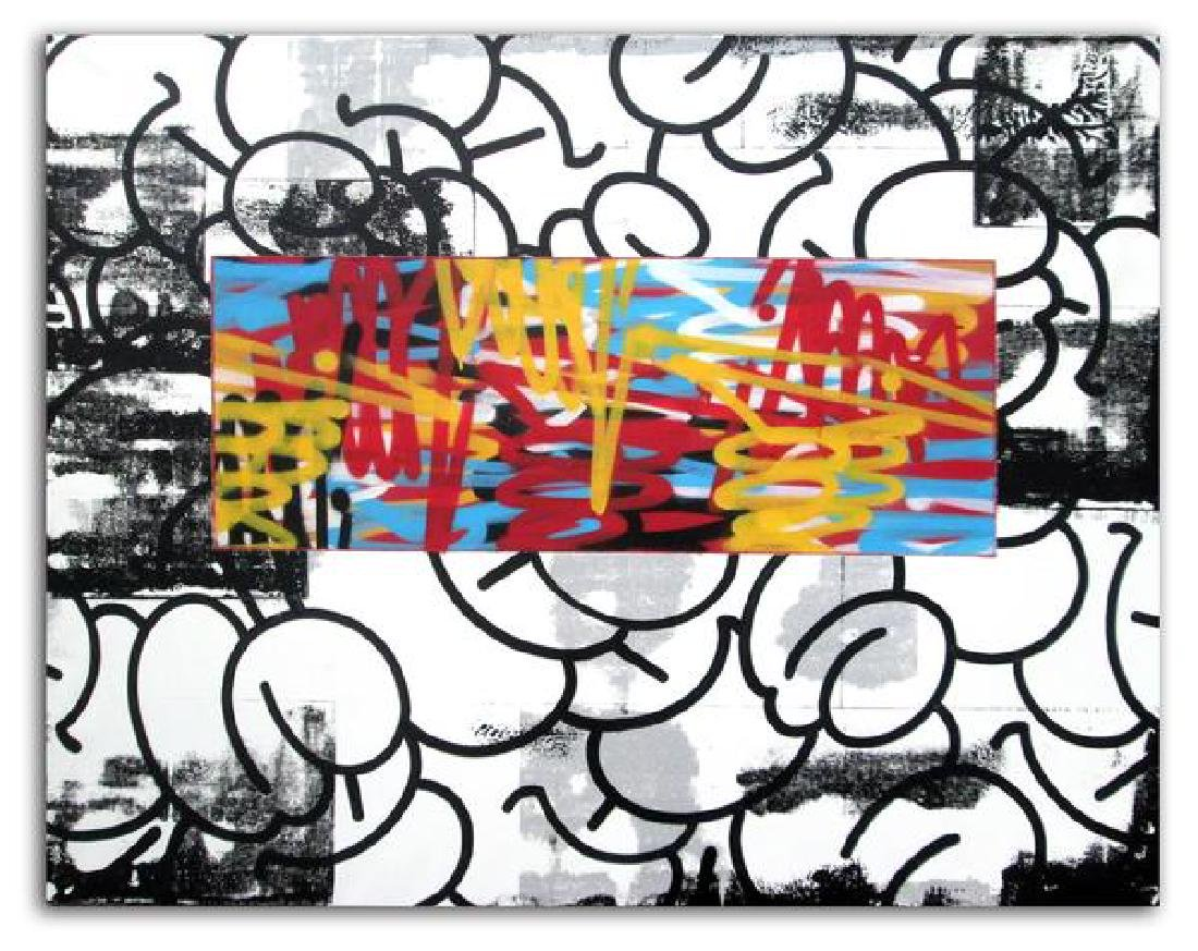 GRAFFITI ARTIST SEEN - Bubbles & Tags Aerosol on Linen