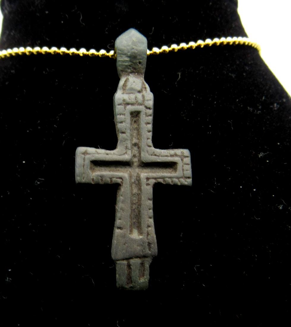 Crusader reliquary Double Cross Pendant