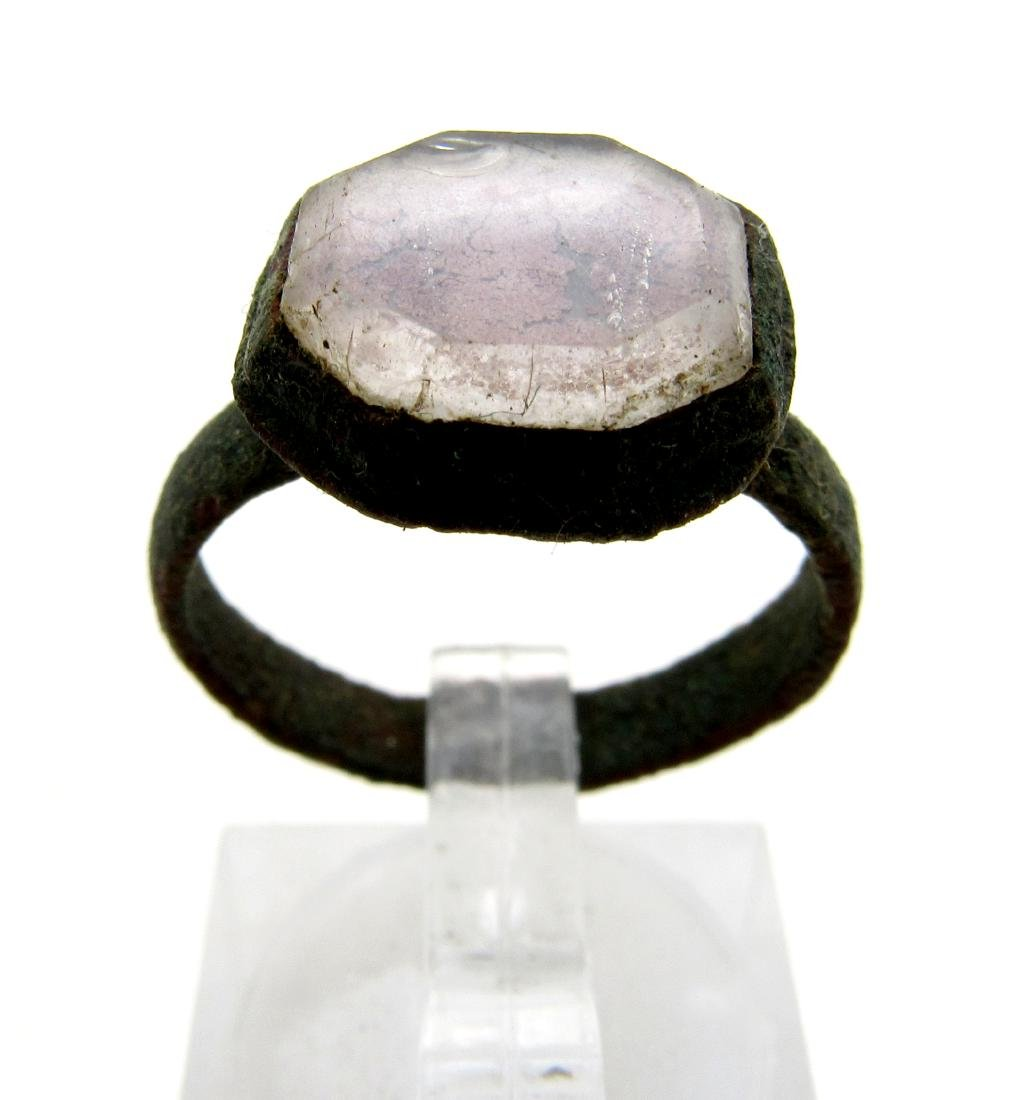 Wearable Medieval Ring w Large White Stone