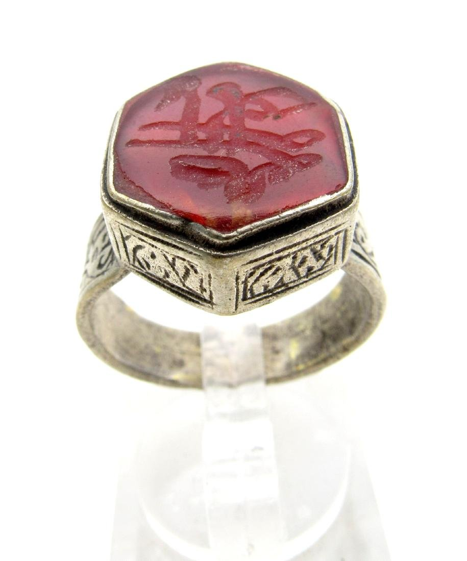 Wearable Post Medieval Carnelian Intaglio Ring with - 3