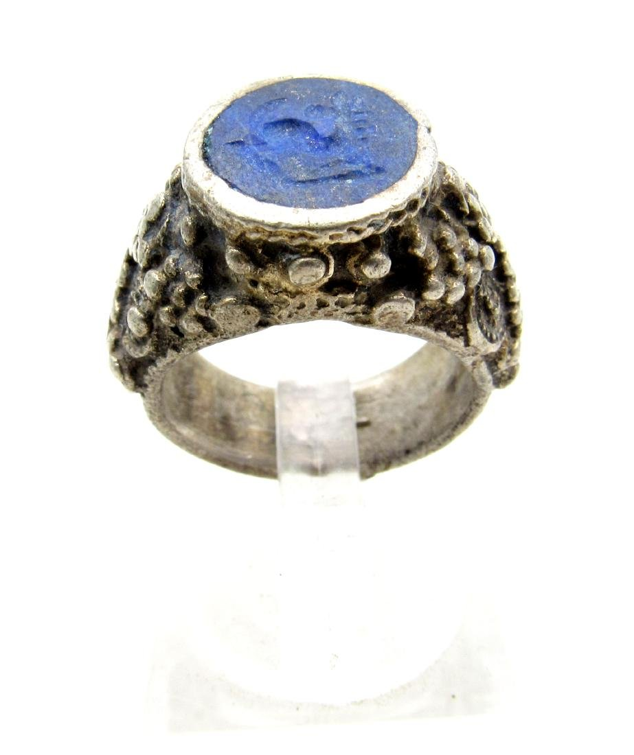 Wearable Post Medieval Lapis Lazuli Intaglio Ring - 3