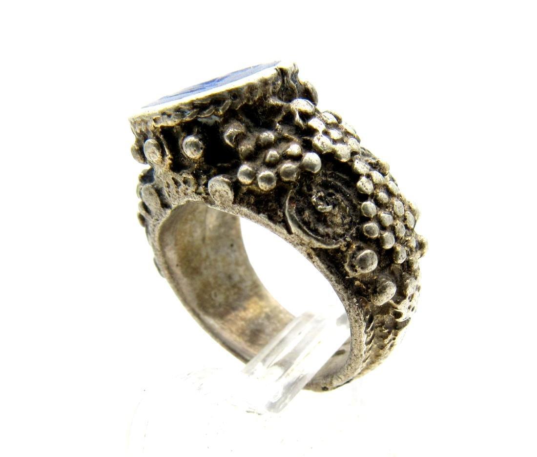 Wearable Post Medieval Lapis Lazuli Intaglio Ring - 4