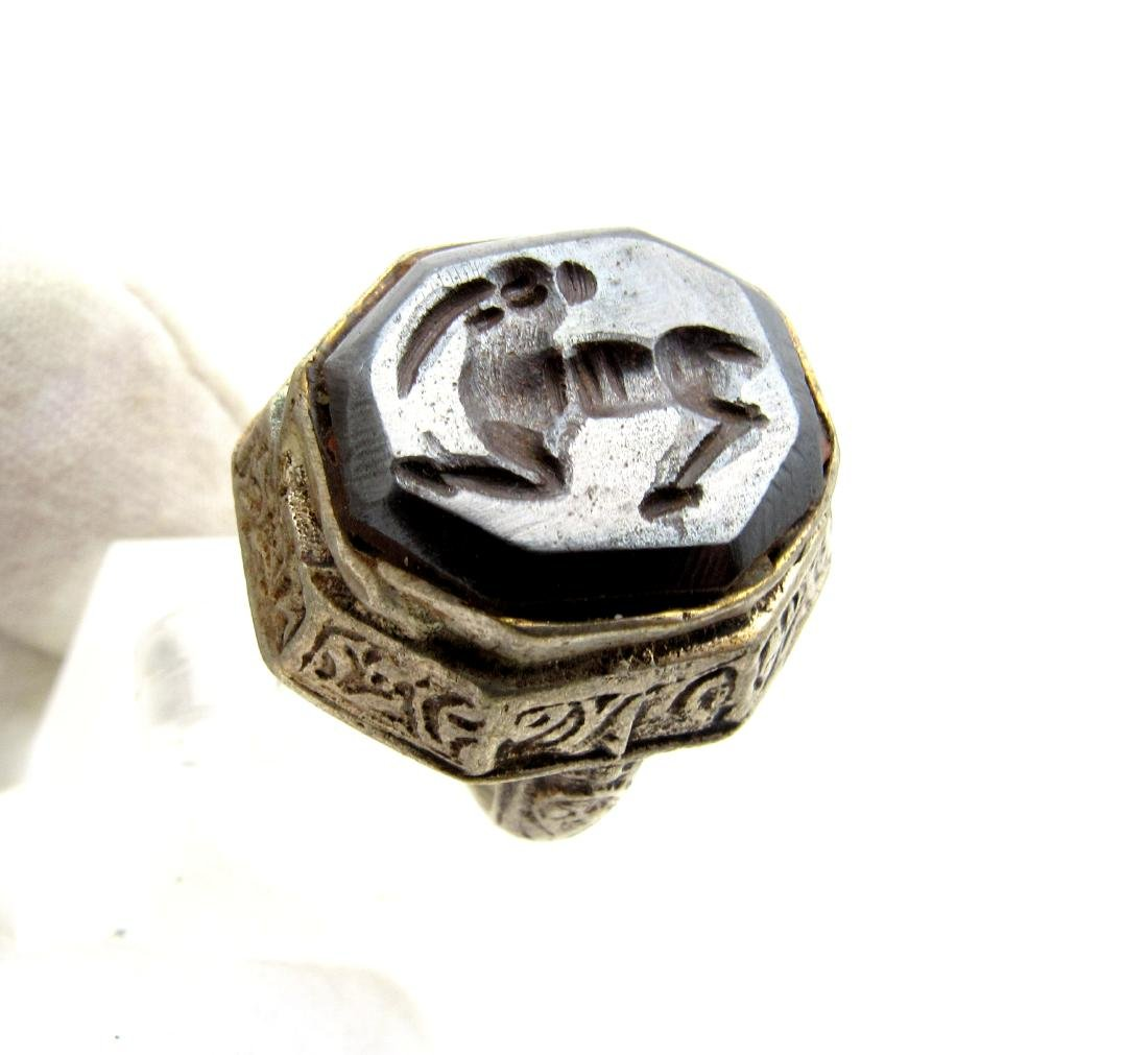 Wearable Post Medieval Hematite Intaglio Ring with - 3