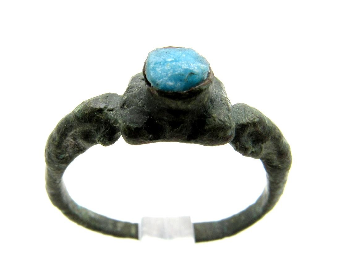 Wearable Medieval Turquoise Stone Ring - 3
