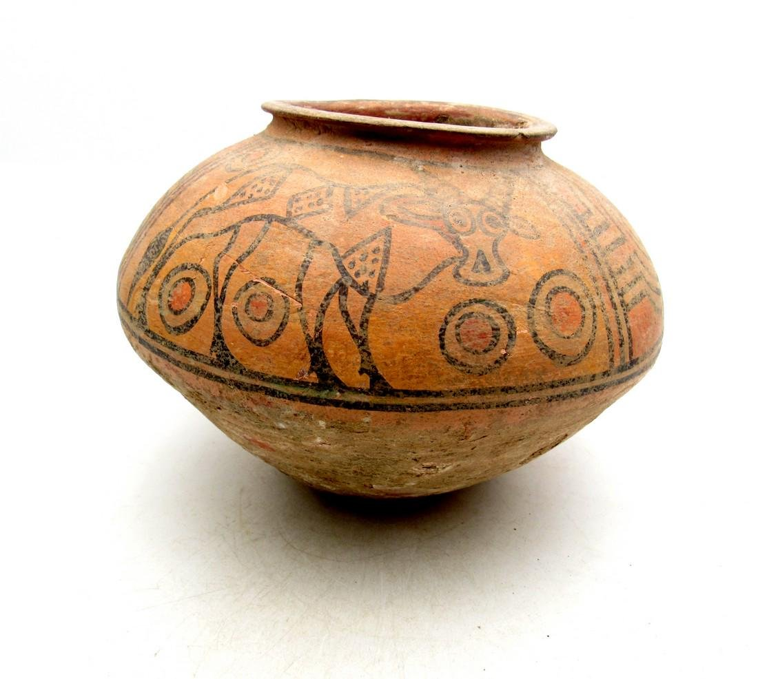 Ancient Indus valley Terracotta Painted Jar with Lion - 4