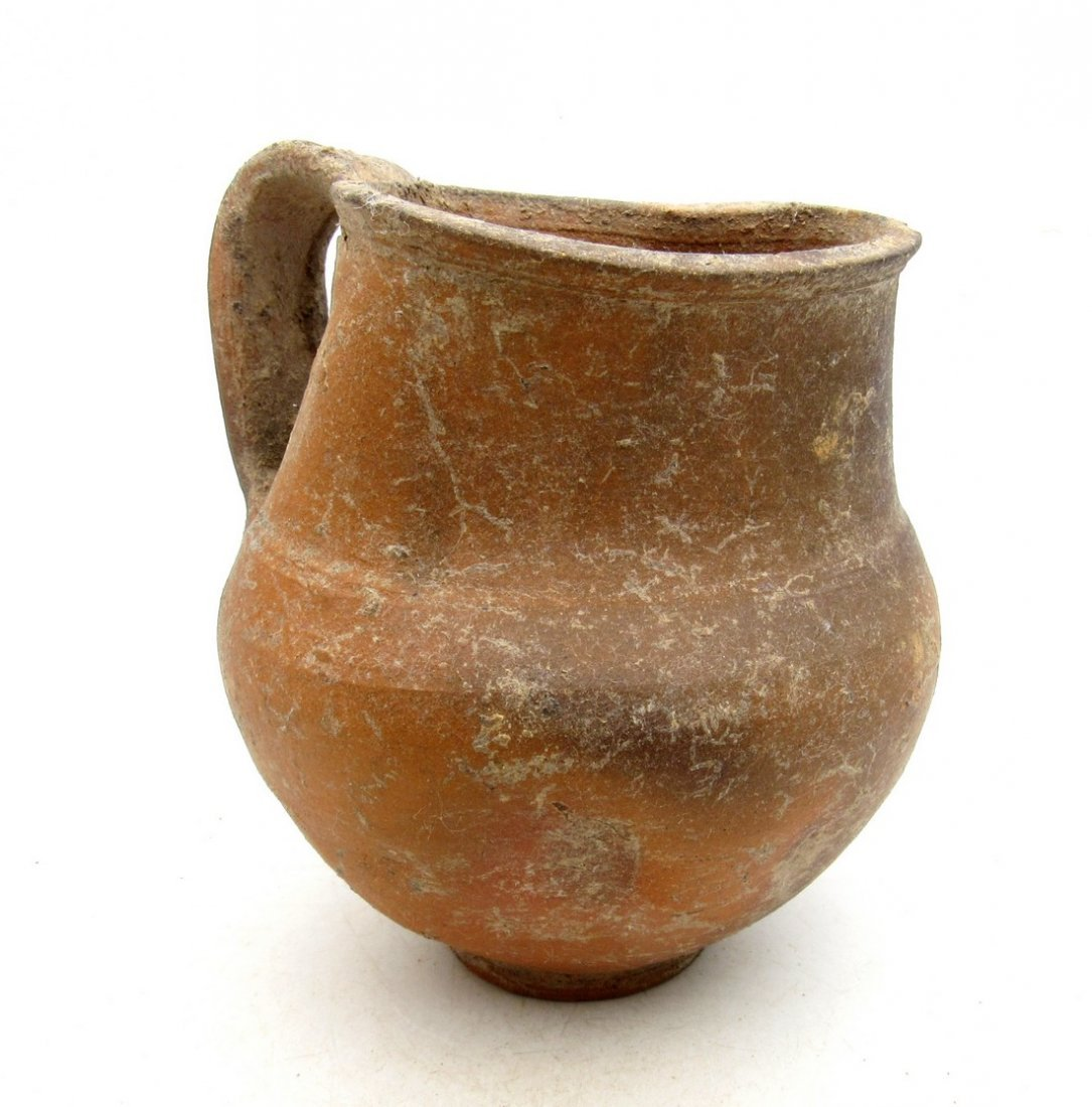 Ancient Roman Terracotta Wine Flagon with Handle