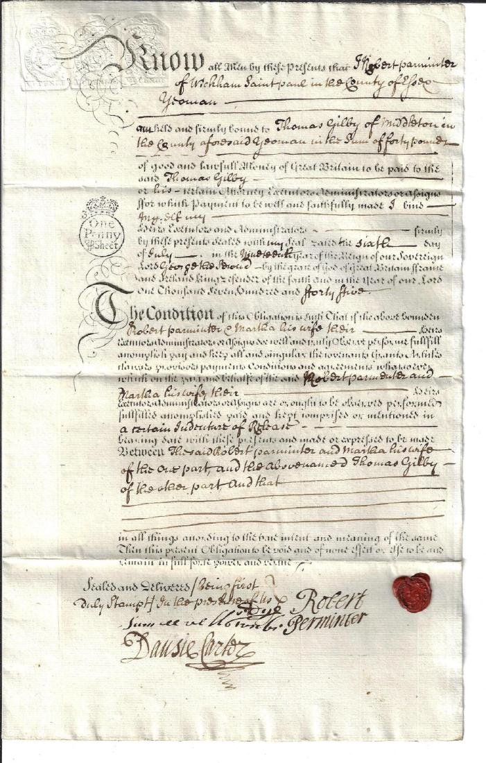 1745 English Obligation Bond w/ Red Wax Seal