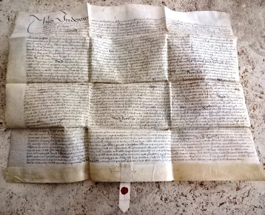 1693 Vellum Indenture William and Mary w/ Red Wax Seal