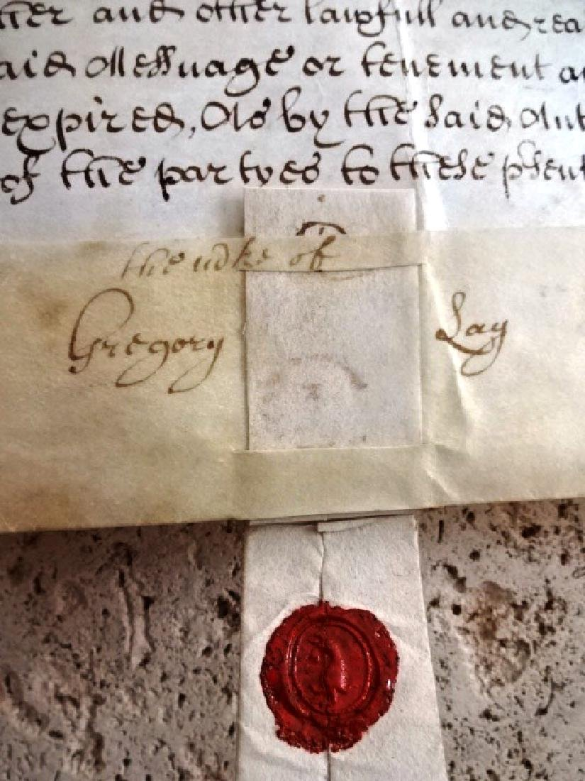 1693 Vellum Indenture William and Mary w/ Red Wax Seal - 2