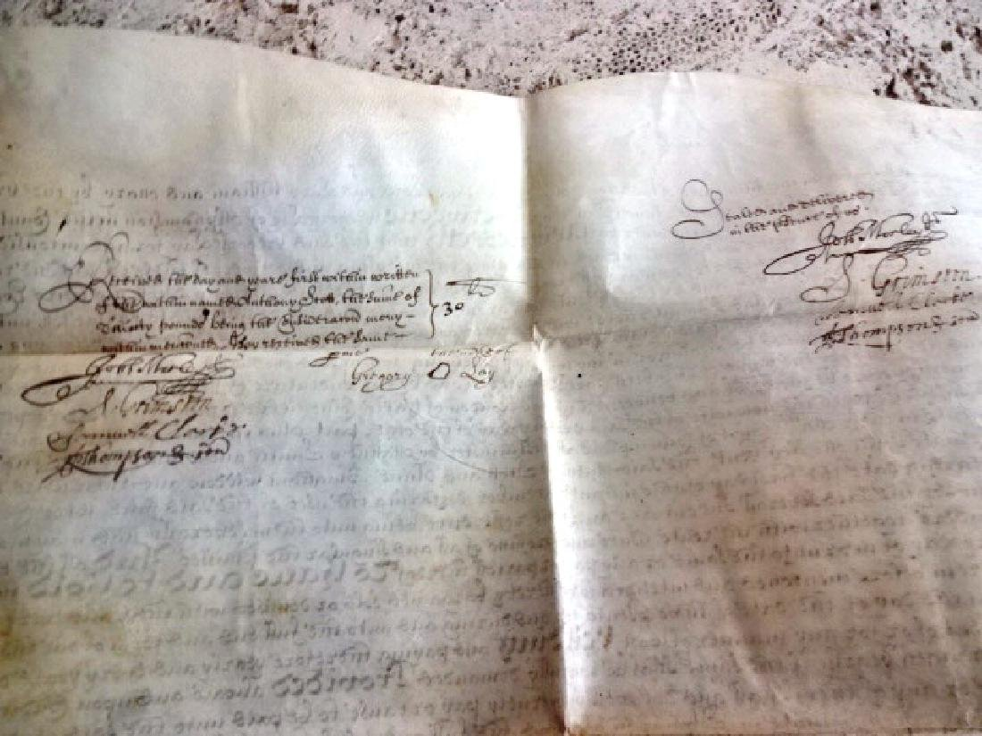 1693 Vellum Indenture William and Mary w/ Red Wax Seal - 3