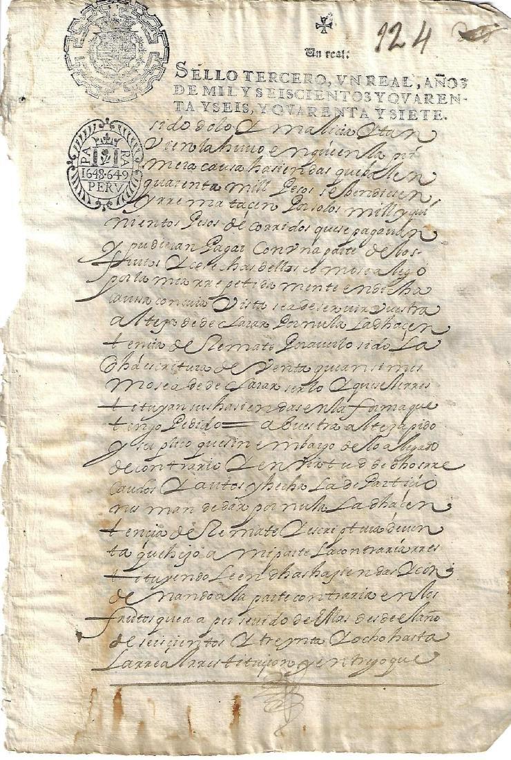 1649 Colonial Peru Manuscript Leaf w/ Rare Stamp