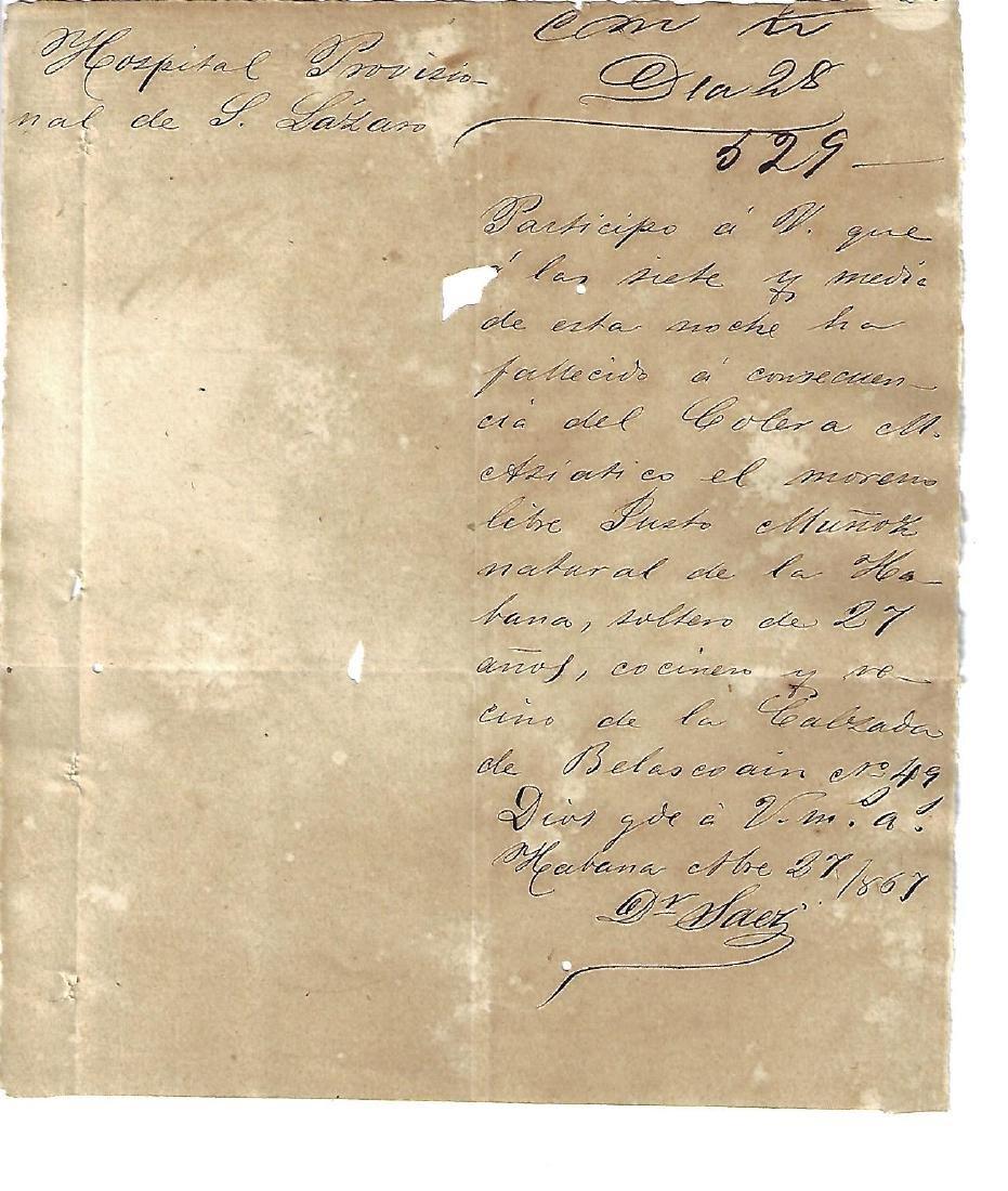 1867 Cuba Manuscript Cholera Death Chinese Worker