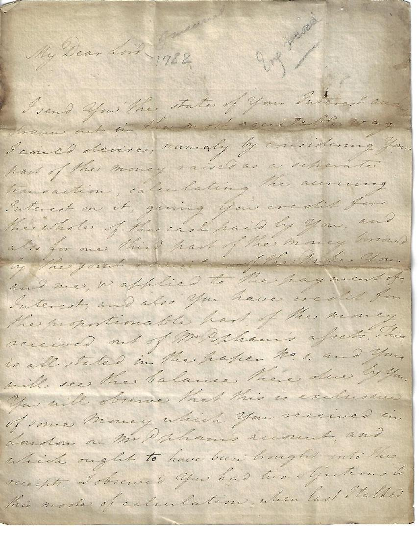 1782 English Business Letter of Notable
