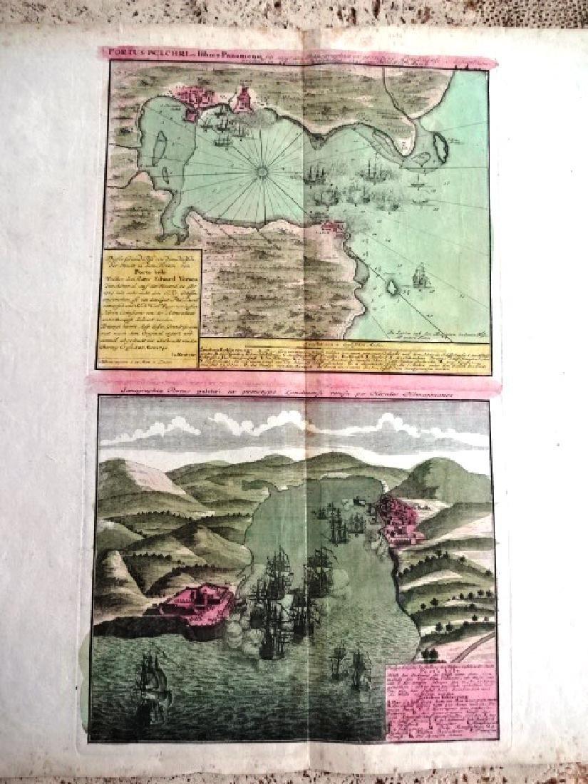 c1750 Homann Map Portus Pulchri Portobello - 2