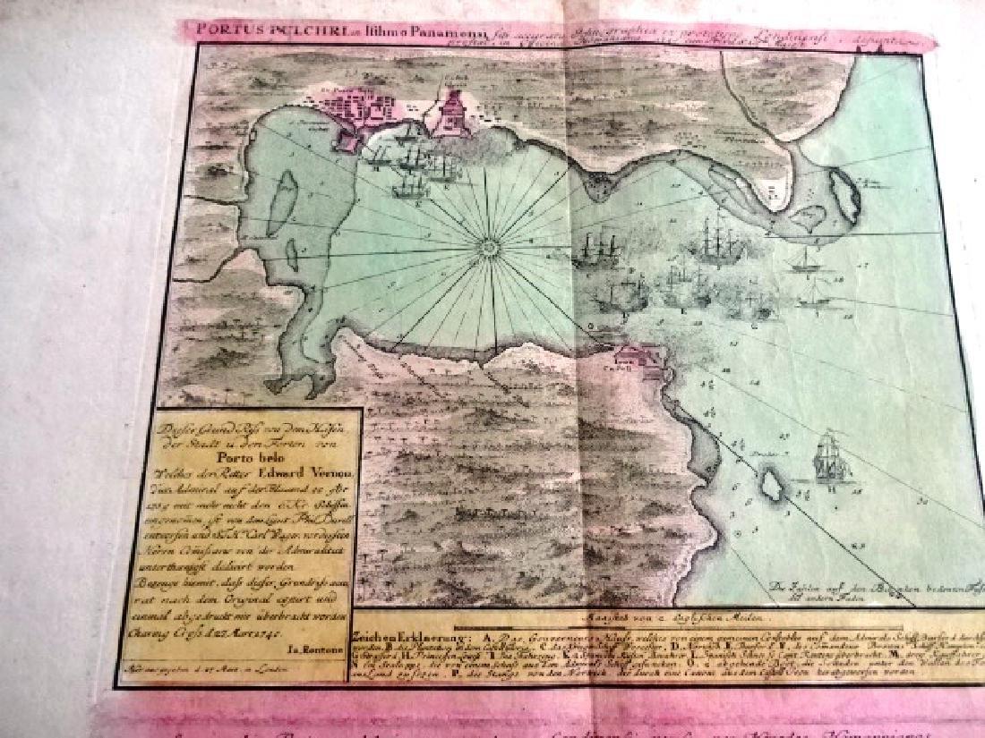 c1750 Homann Map Portus Pulchri Portobello - 3