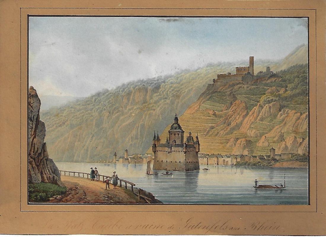 19th C Handcolored Scene German Rhine