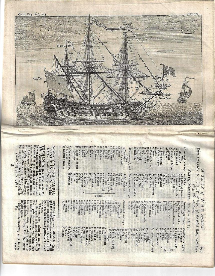 1748 Magazine Engraving of Ship of War