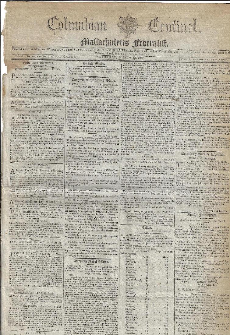 1800 Massachusetts Federalist Newspaper Nice Ads