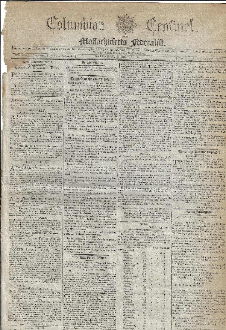 1800 Massachusetts Federalist Newspaper Nice Ads