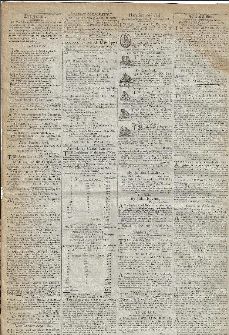 1800 Massachusetts Federalist Newspaper Nice Ads - 2