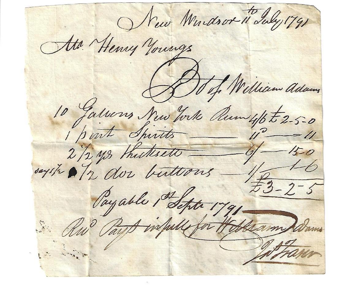 1791 American Receipt for Rum