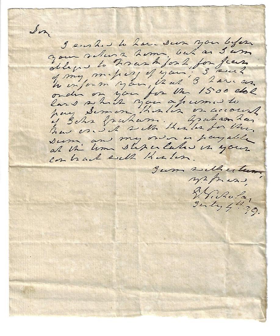 1799 Ohio Business Letter Frontiersman Nathaniel Massie