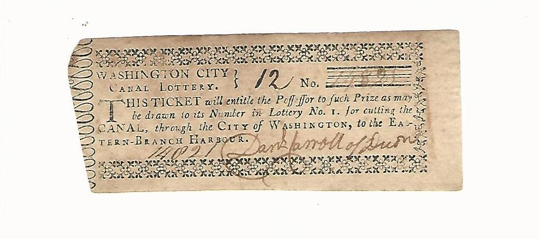 1796 Washington Canal Lottery Ticket
