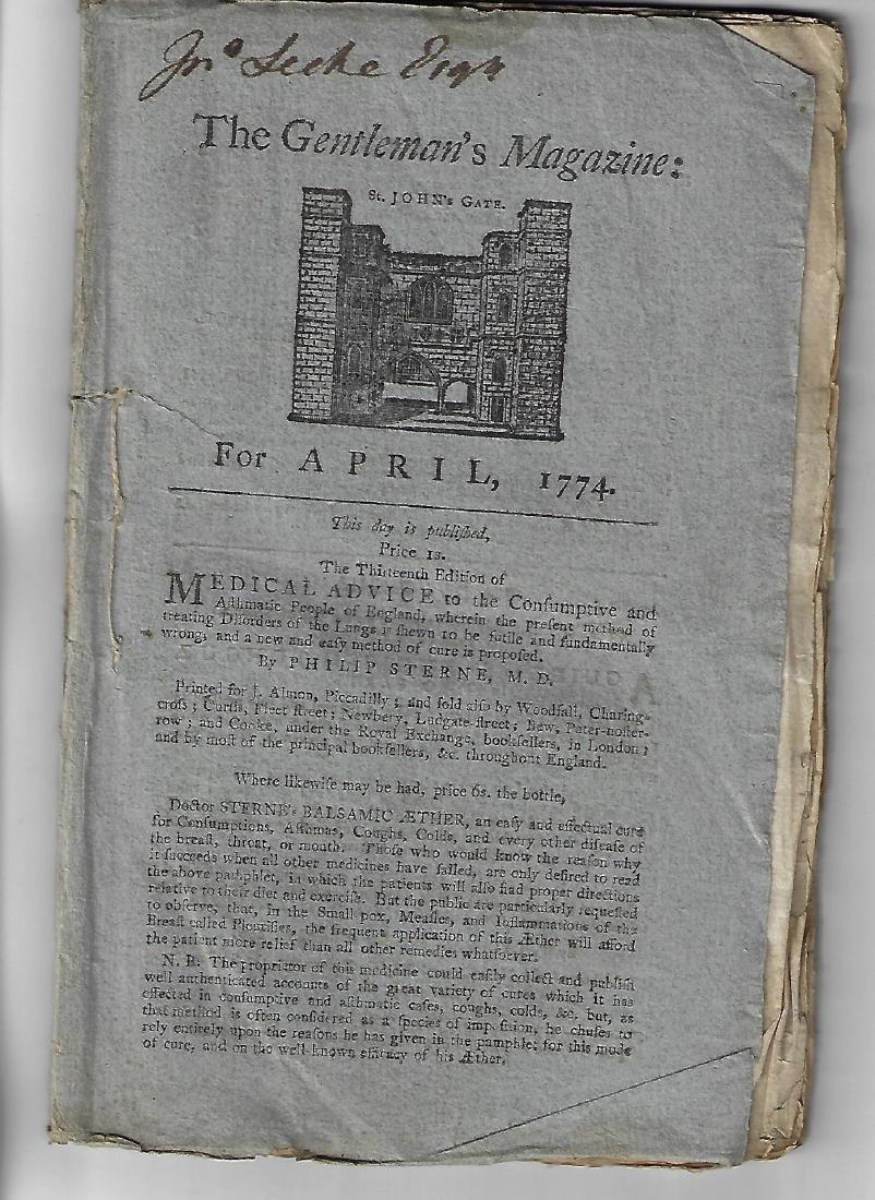 1774 Original Issue Gentleman's Magazine w/ Engraving
