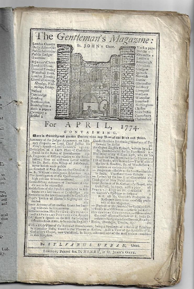 1774 Original Issue Gentleman's Magazine w/ Engraving - 3