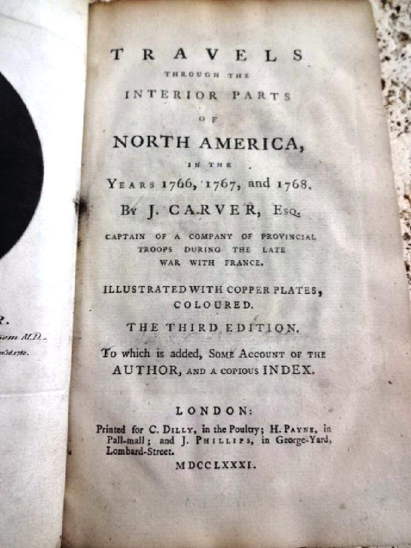 1781 Travels Through North America Carver Plates & Map