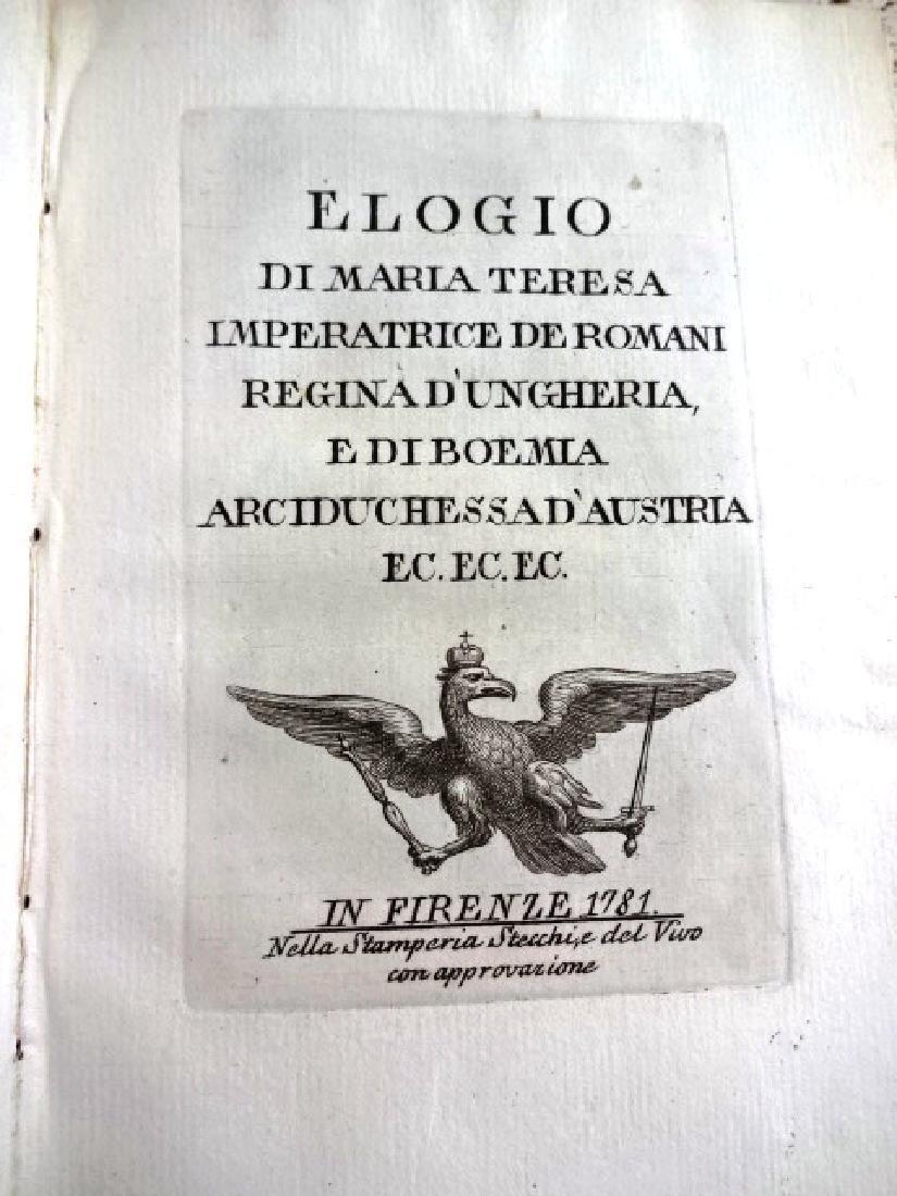 1781 Elogio Di Maria Teresa Imperatrice Romani Regina