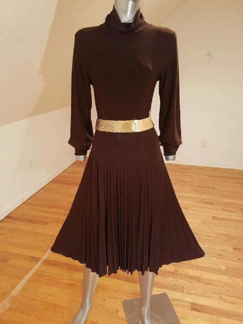 Vtg Jersey knit cocoa dress pencil pleated