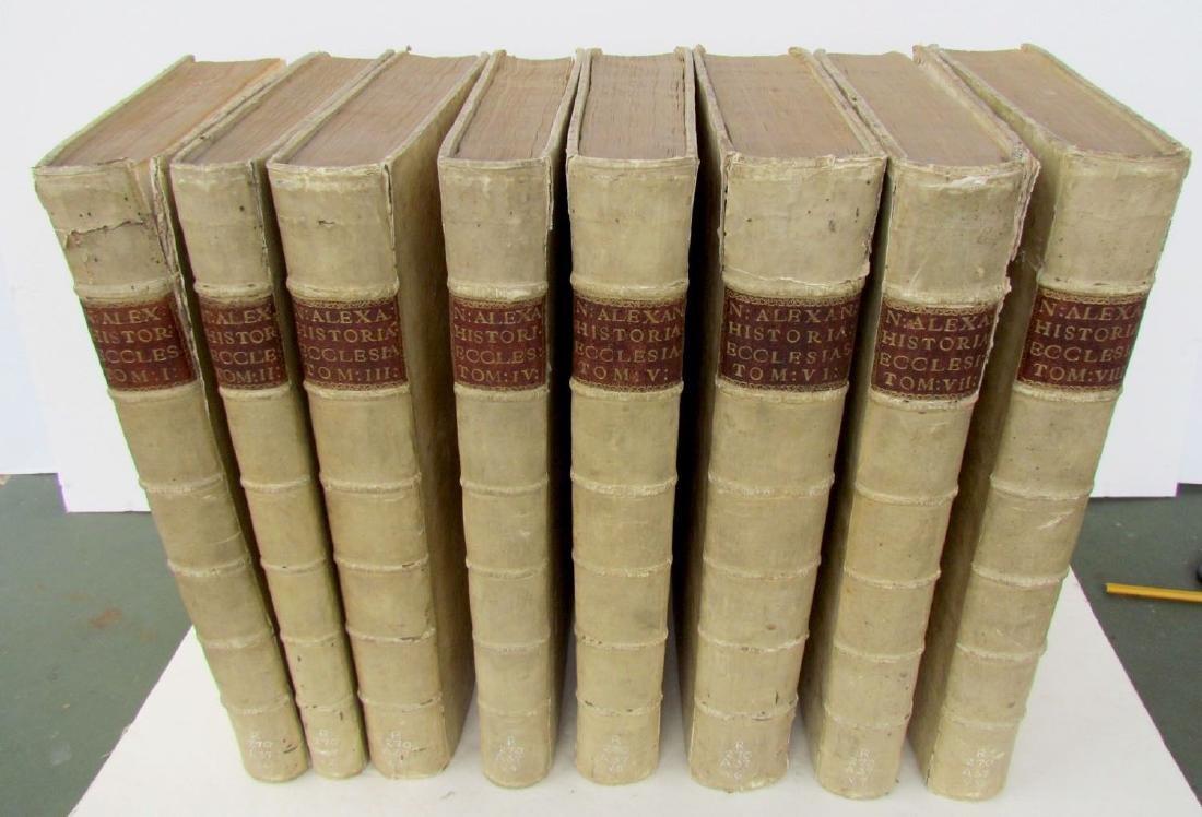 LOT OF 8 1714 ANTIQUE HISTORIA ECCLESIASTICA VELLUM